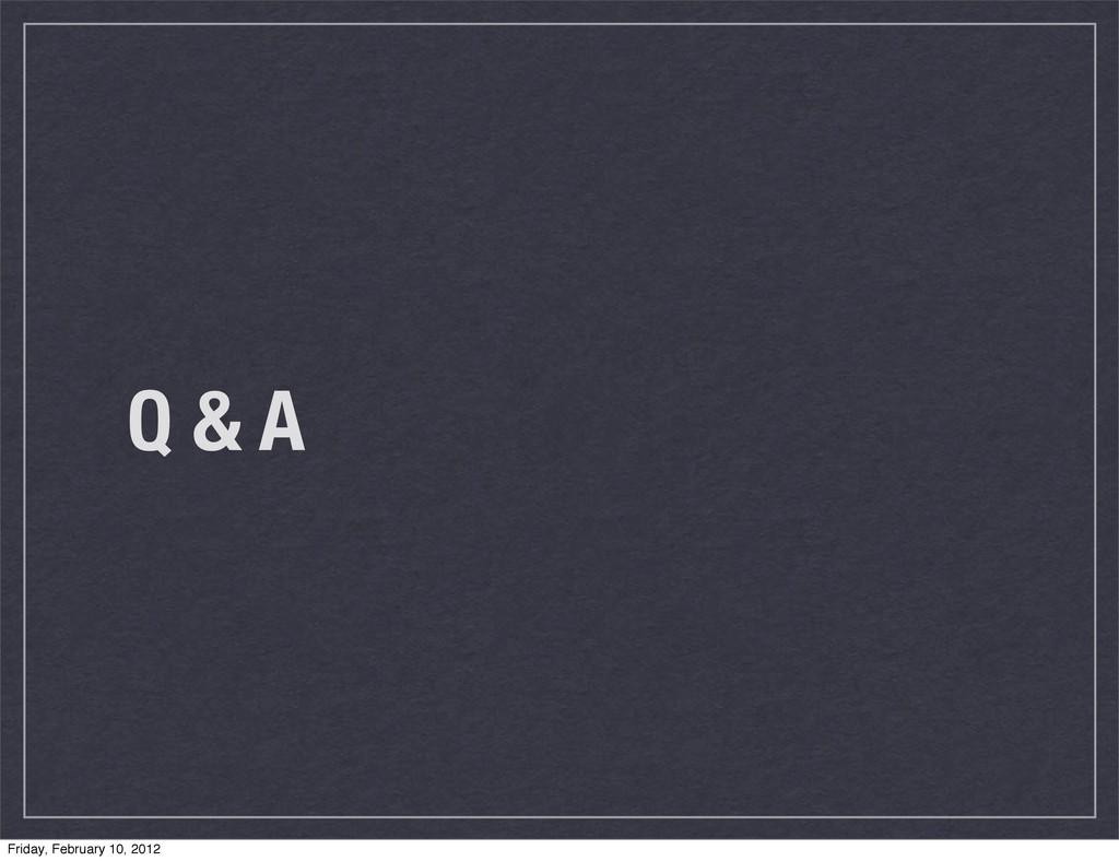 Q & A Friday, February 10, 2012