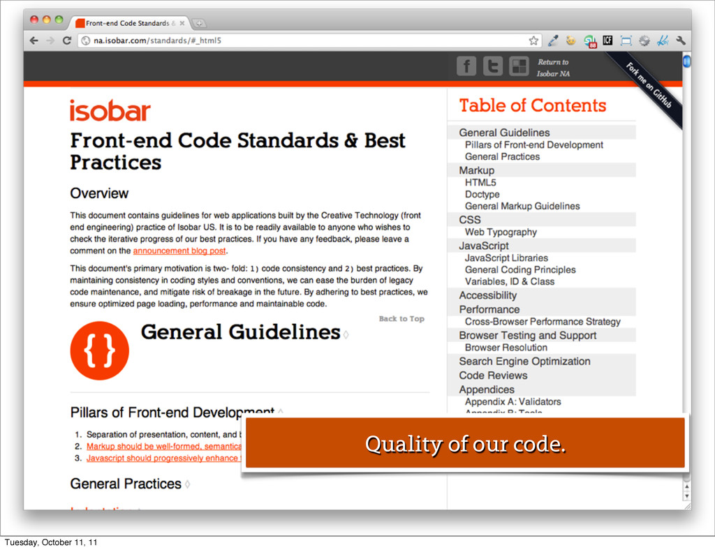 Quality of our code. Tuesday, October 11, 11