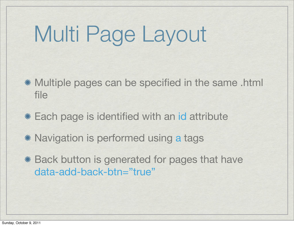 Multi Page Layout Multiple pages can be specifie...