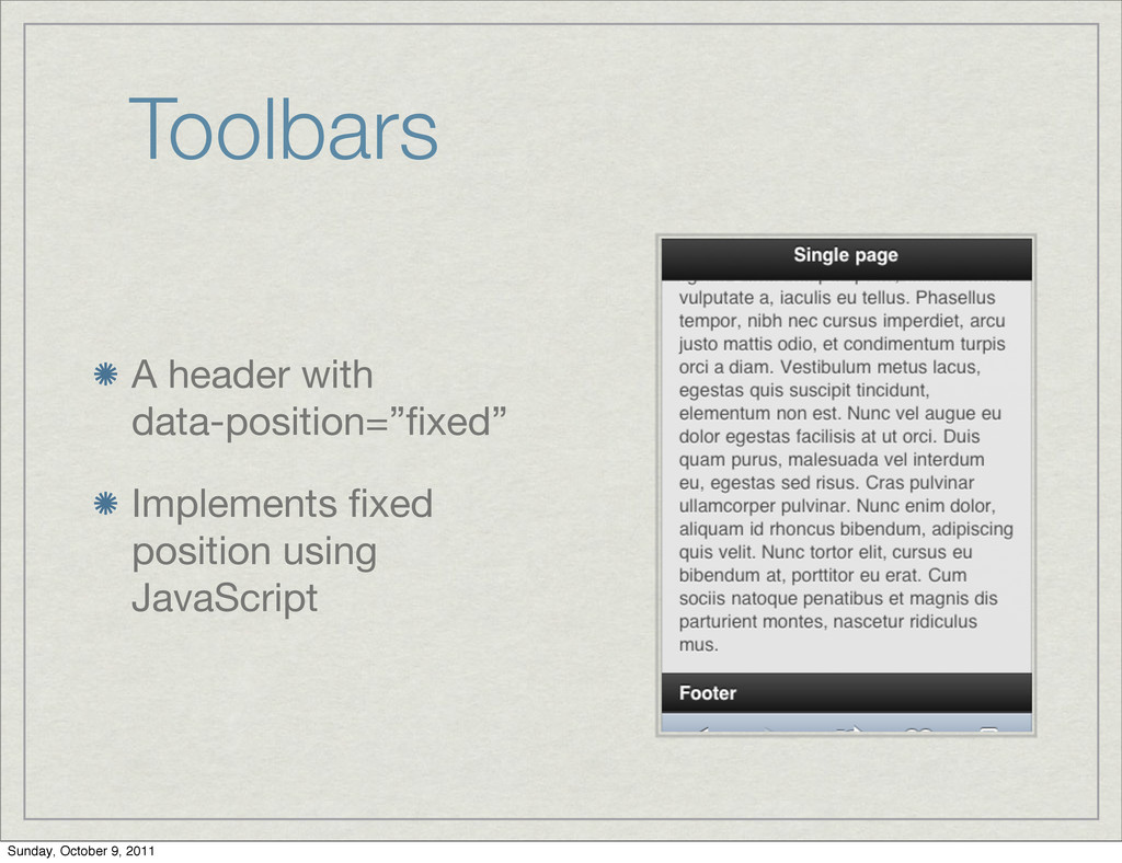 """Toolbars A header with data-position=""""fixed"""" Imp..."""