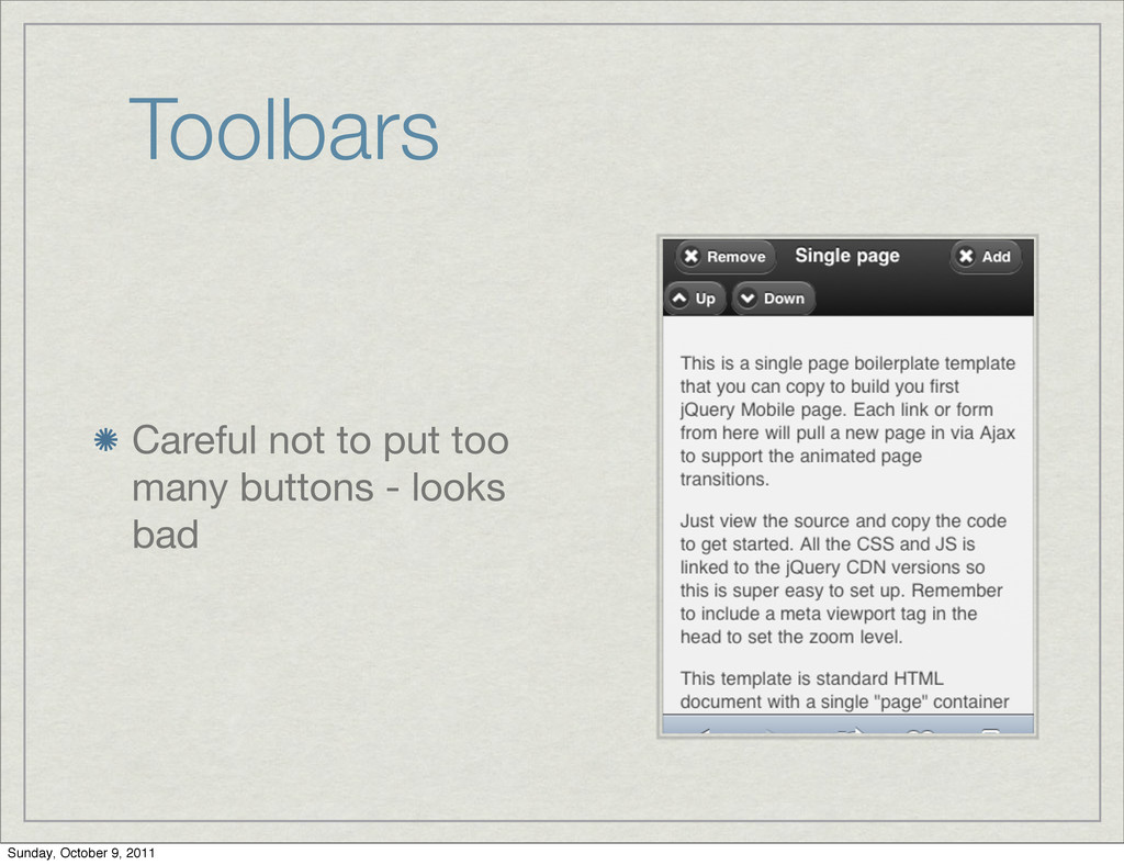 Toolbars Careful not to put too many buttons - ...