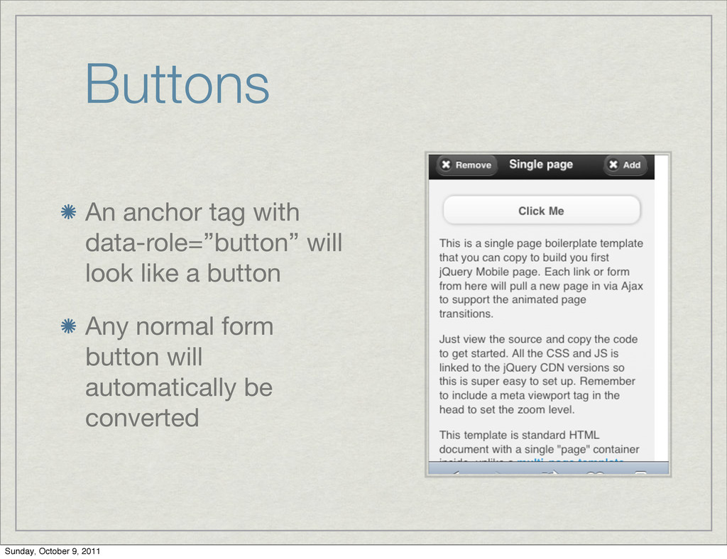 """Buttons An anchor tag with data-role=""""button"""" w..."""