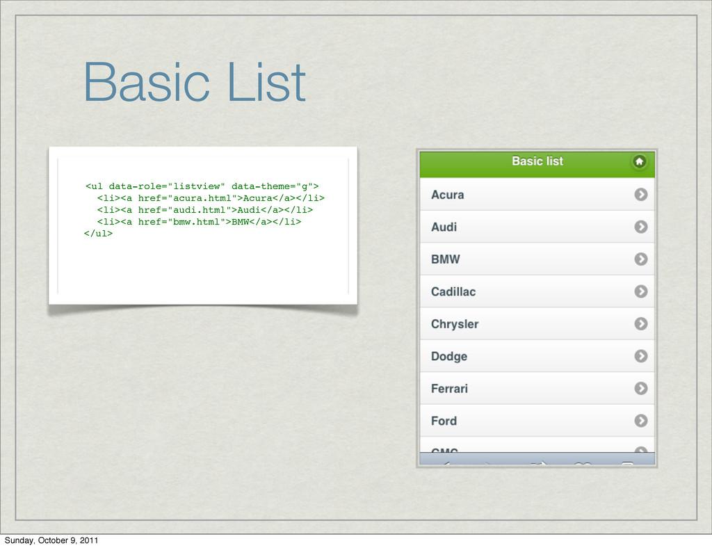 "Basic List <ul data-role=""listview"" data-theme=..."