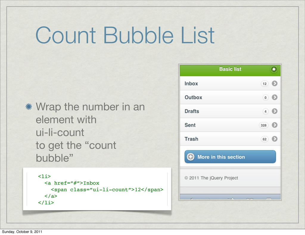 Count Bubble List Wrap the number in an element...