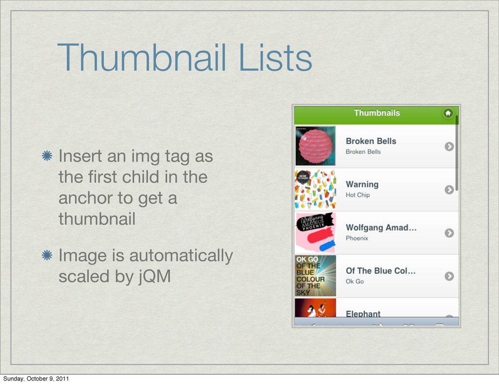 Thumbnail Lists Insert an img tag as the first c...