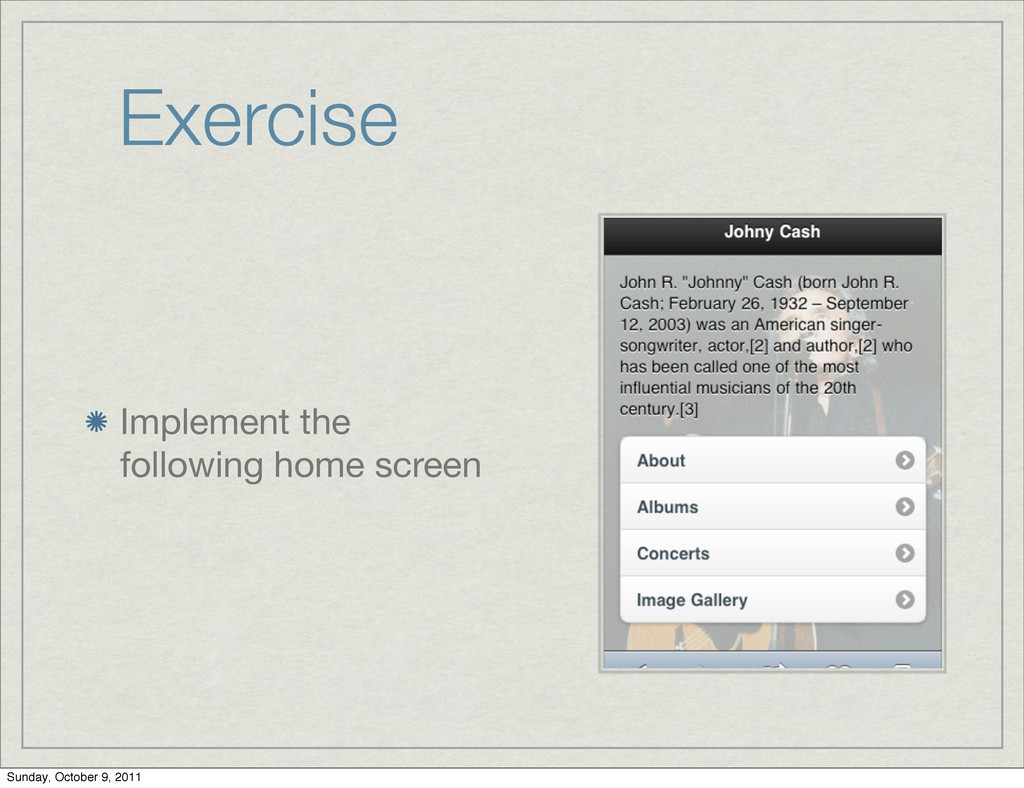 Exercise Implement the following home screen Su...