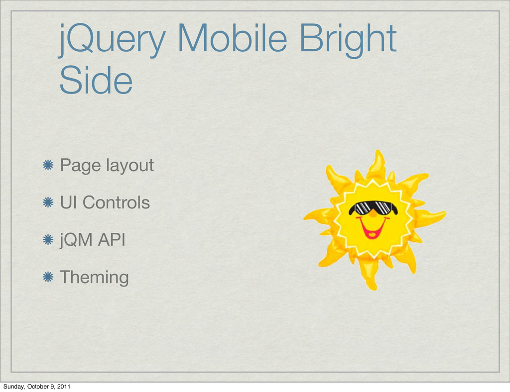 jQuery Mobile Bright Side Page layout UI Contro...