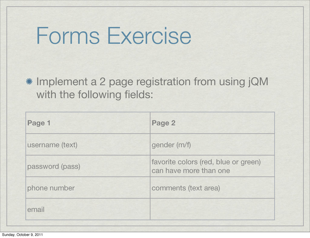 Forms Exercise Implement a 2 page registration ...
