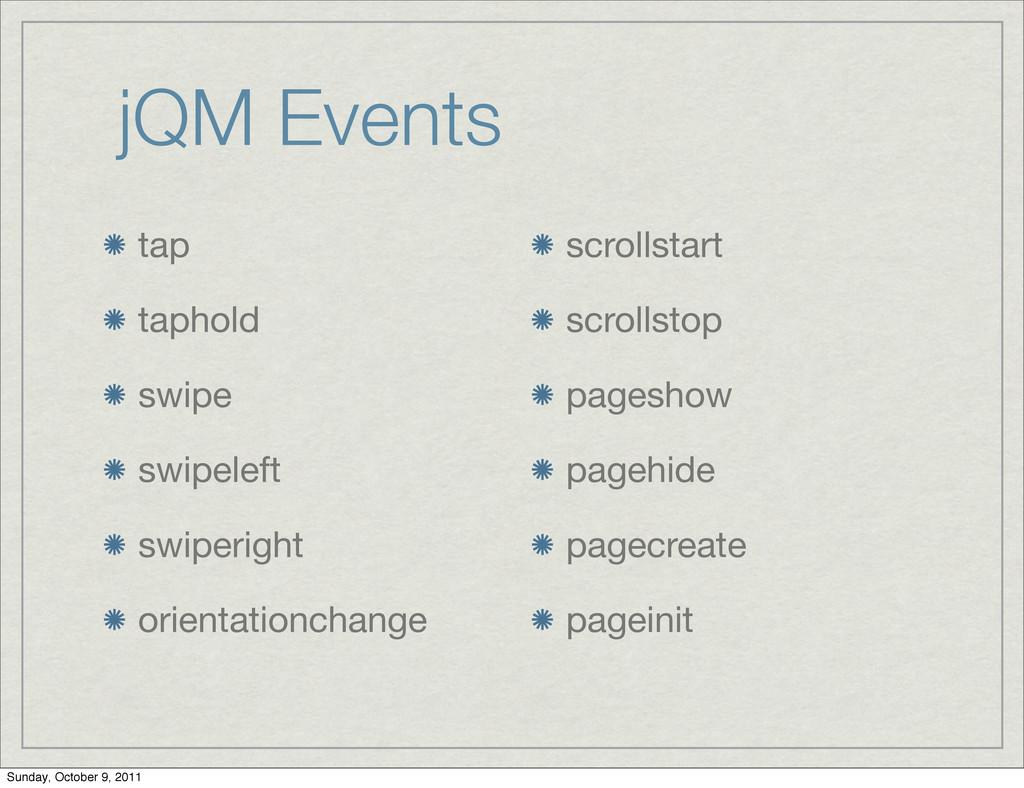jQM Events tap taphold swipe swipeleft swiperig...
