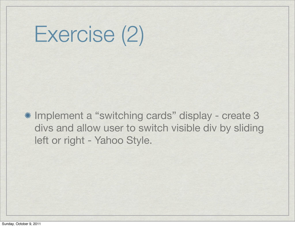 """Exercise (2) Implement a """"switching cards"""" disp..."""