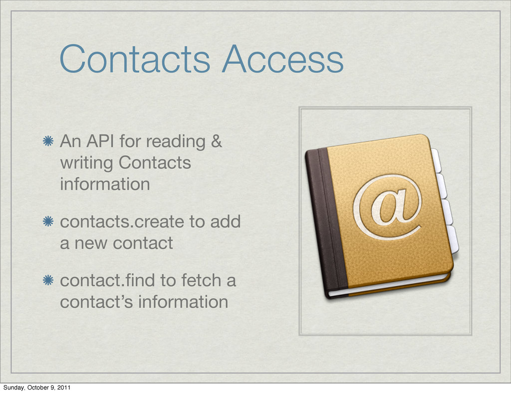 Contacts Access An API for reading & writing Co...