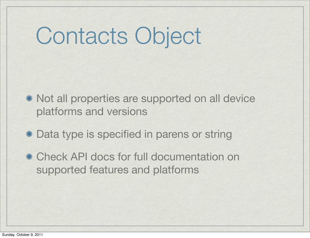 Contacts Object Not all properties are supporte...