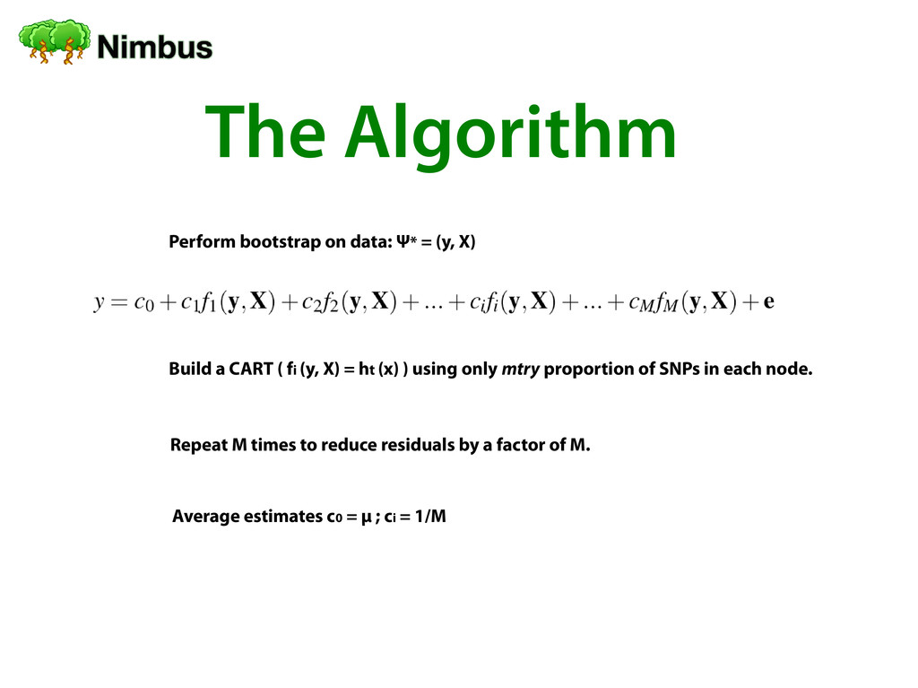 The Algorithm Perform bootstrap on data: Ψ* = (...