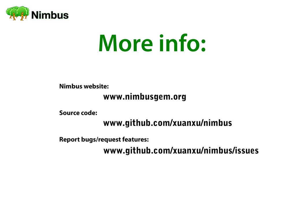 More info: Nimbus website: Source code: Report ...