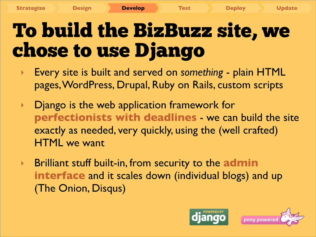 To build the BizBuzz site, we chose to use Djan...