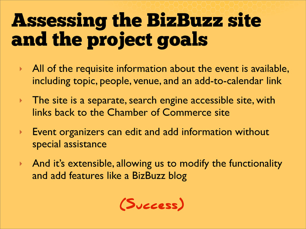 Assessing the BizBuzz site and the project goal...