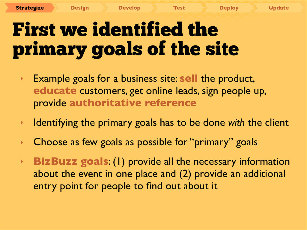 First we identified the primary goals of the si...