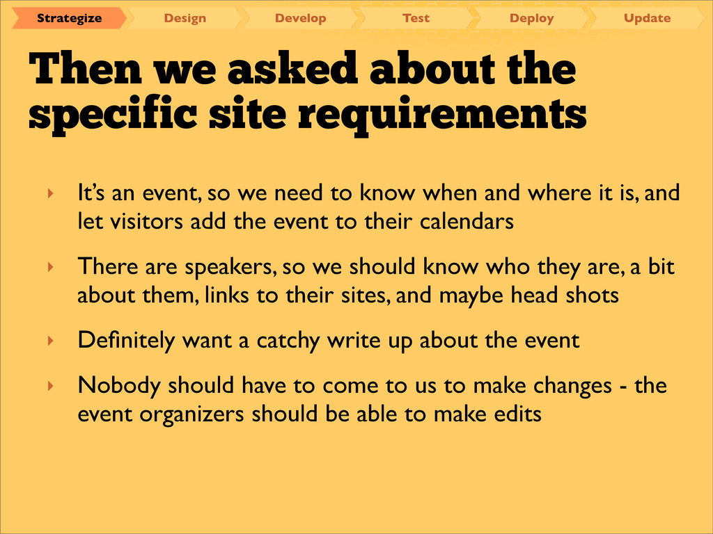 Then we asked about the specific site requireme...