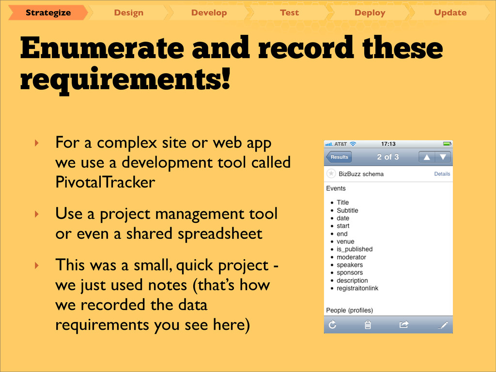 Enumerate and record these requirements! ‣ For ...