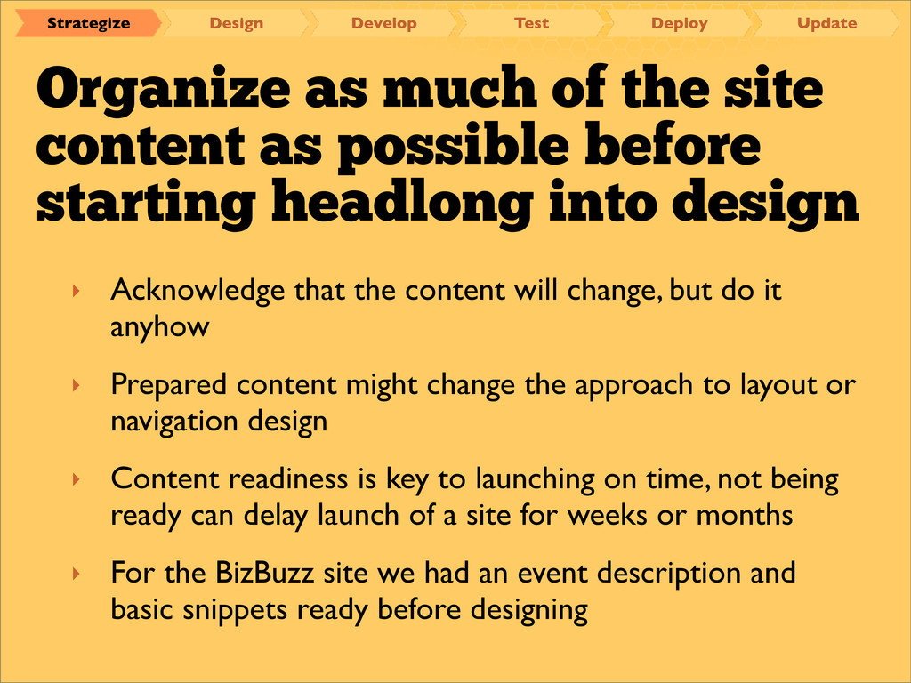 Organize as much of the site content as possibl...