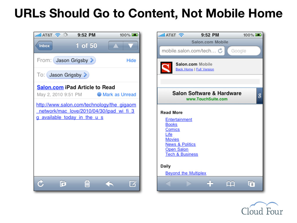 URLs Should Go to Content, Not Mobile Home