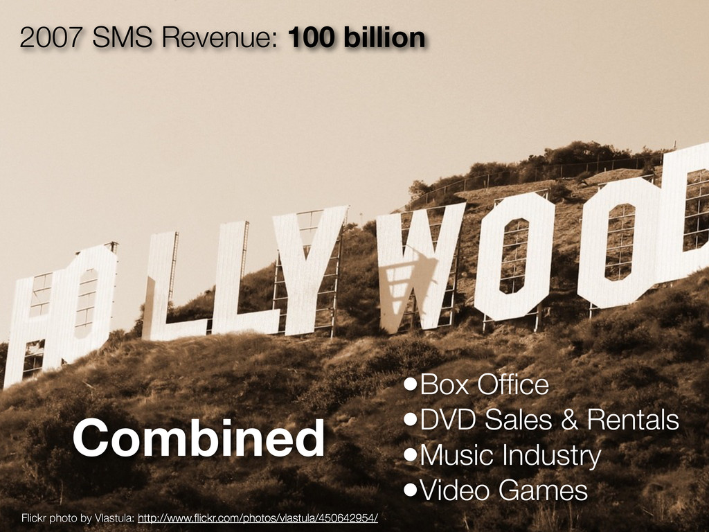 2007 SMS Revenue: 100 billion •Box Office •DVD S...