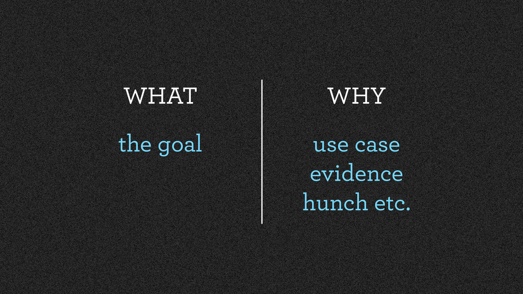WHAT the goal WHY use case evidence hunch etc.