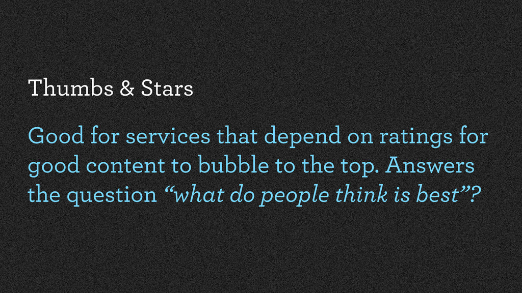 Thumbs & Stars Good for services that depend on...