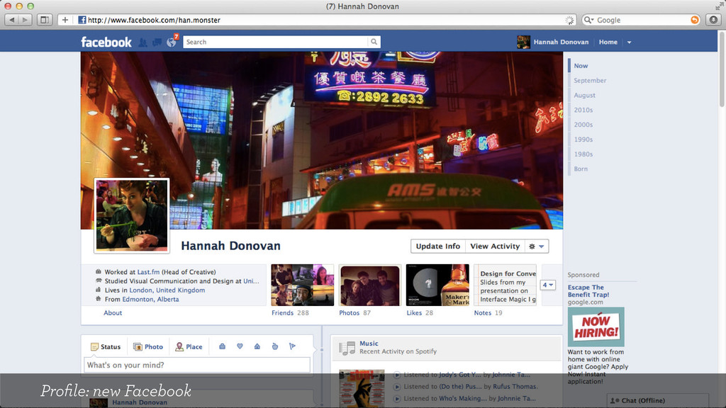 Profile: new Facebook