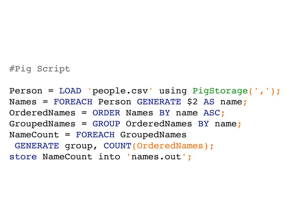#Pig Script Person = LOAD 'people.csv' using Pi...