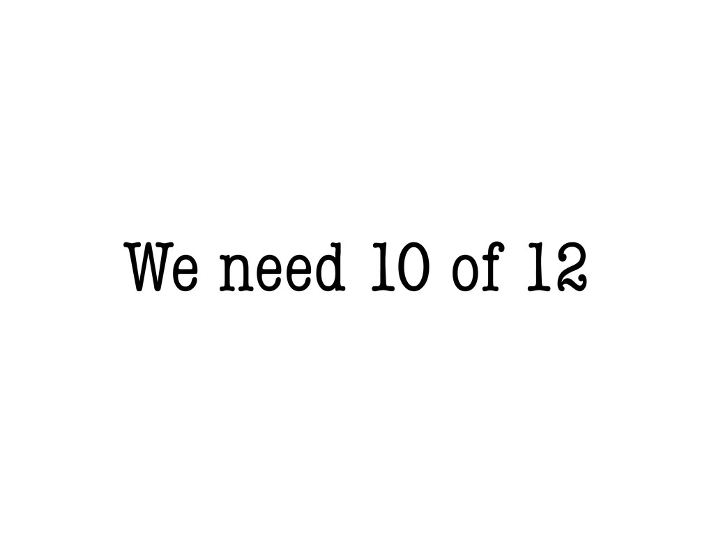We need 10 of 12
