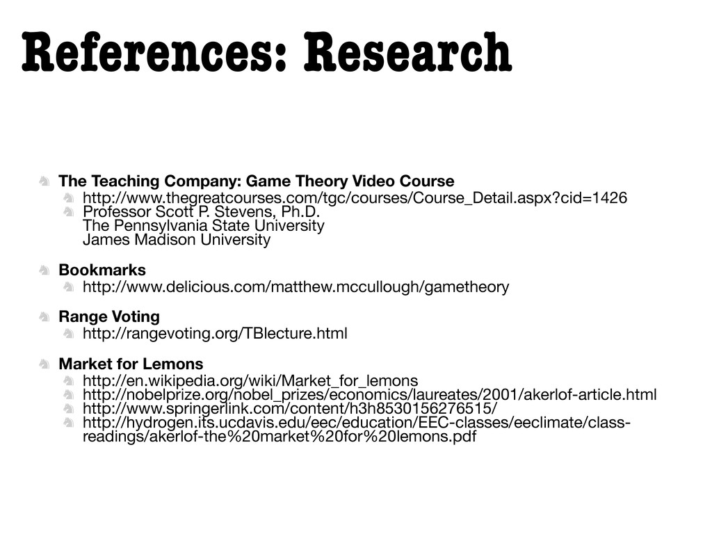 References: Research  The Teaching Company: Ga...