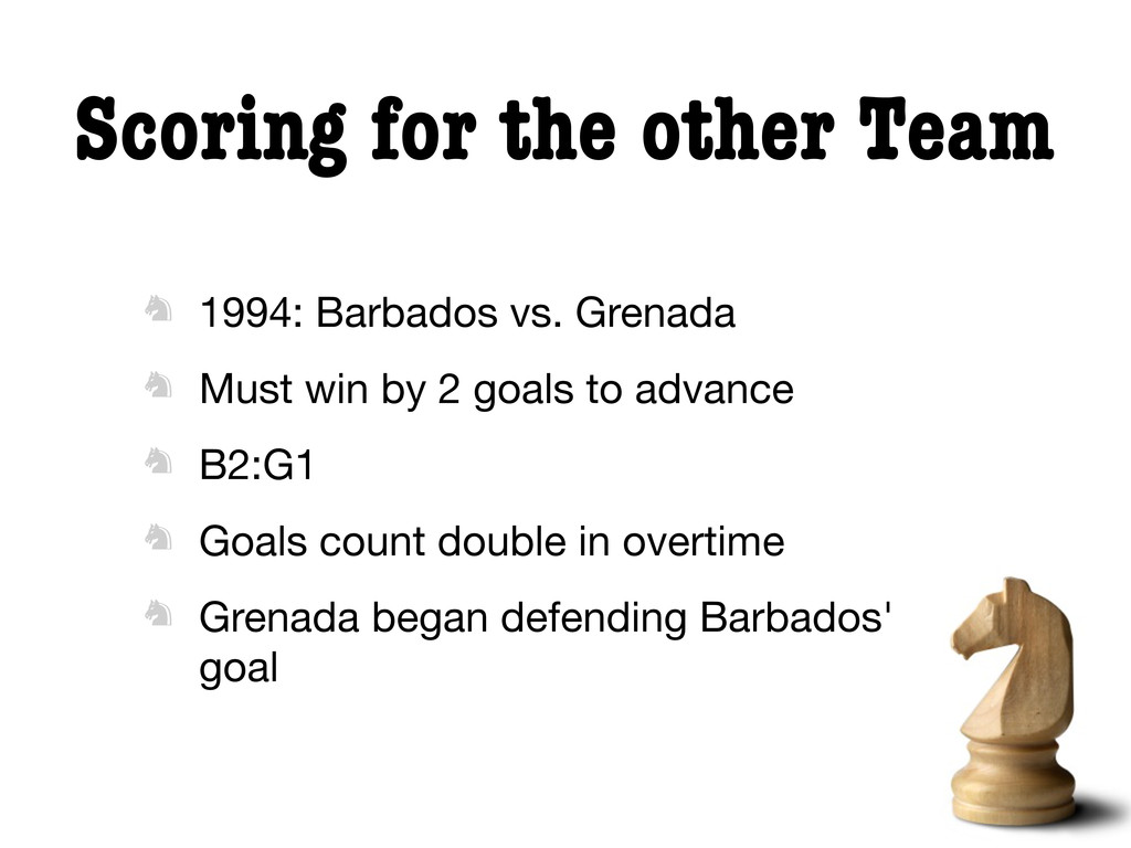 Scoring for the other Team  1994: Barbados vs....