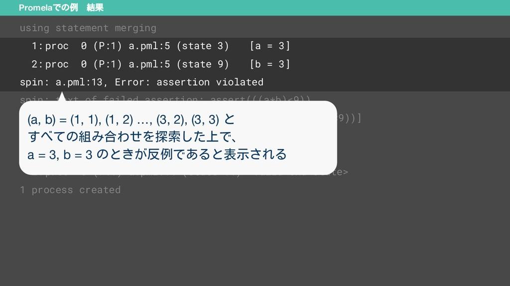Promelaでの例 結果 using statement merging 1: proc 0...