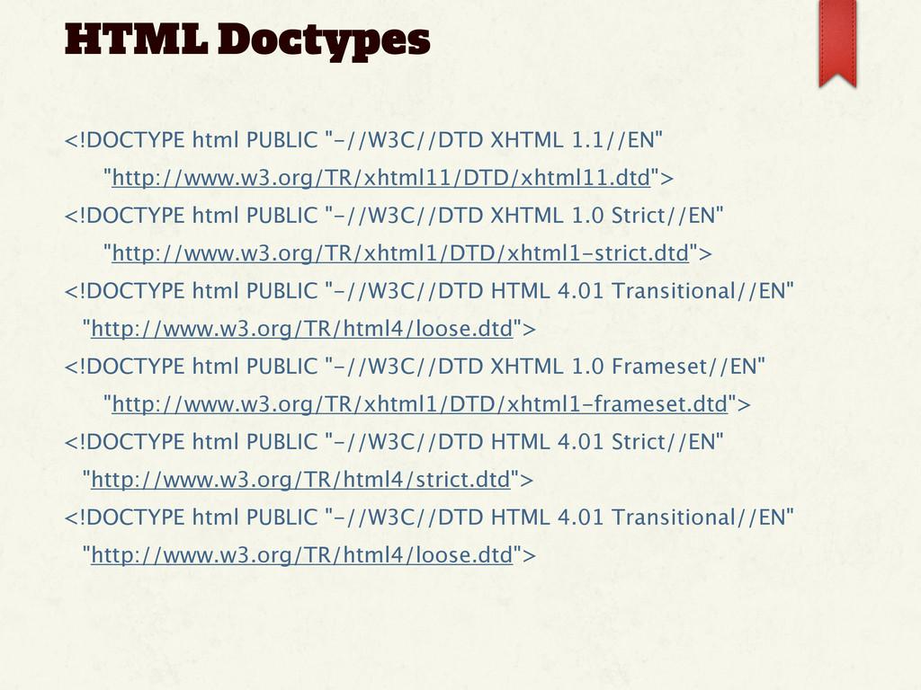 "HTML Doctypes <!DOCTYPE html PUBLIC ""-//W3C//DT..."