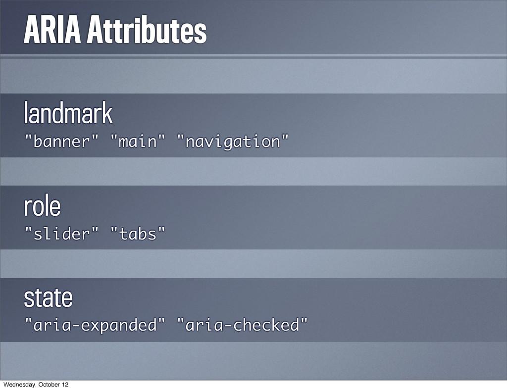 """ARIA Attributes landmark """"banner"""" """"main"""" """"navig..."""