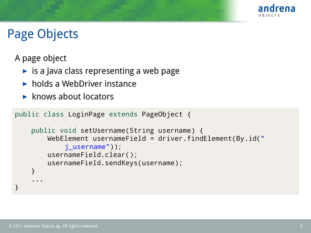 Page Objects A page object is a Java class repr...