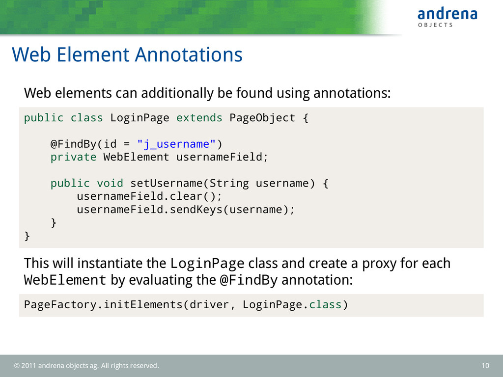 Web Element Annotations Web elements can additi...