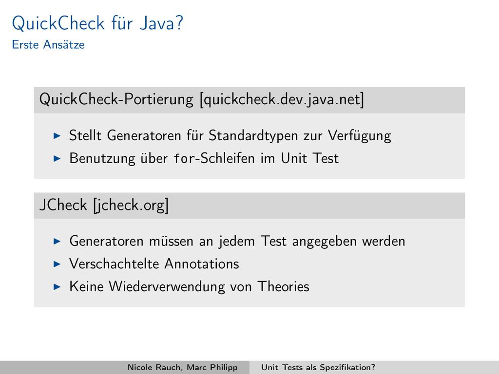 QuickCheck für Java? Erste Ansätze QuickCheck-P...