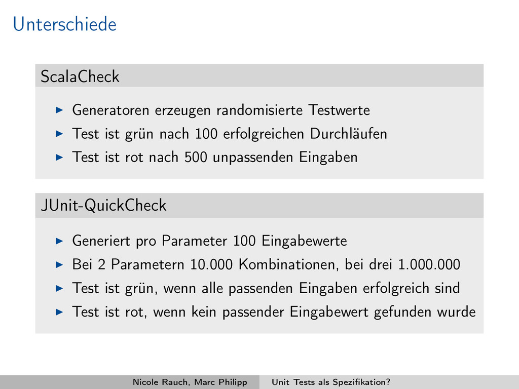 Unterschiede ScalaCheck Generatoren erzeugen ra...