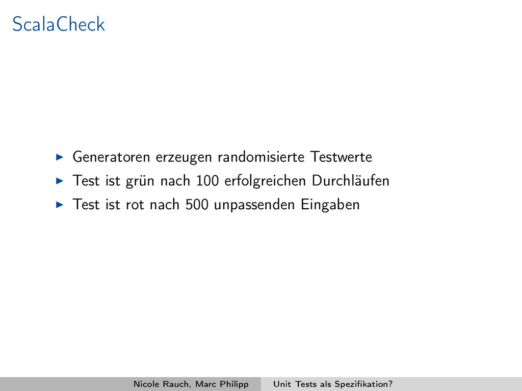ScalaCheck Generatoren erzeugen randomisierte T...