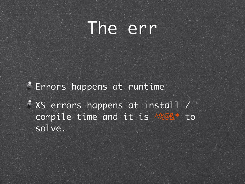 The err Errors happens at runtime XS errors hap...