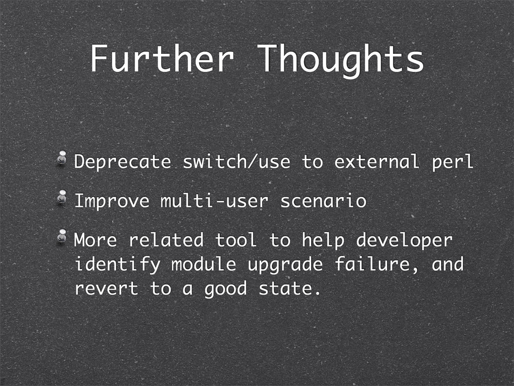 Further Thoughts Deprecate switch/use to extern...
