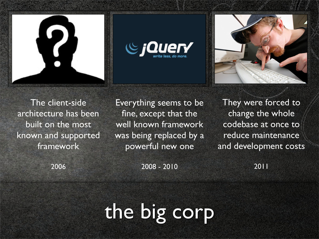 the big corp The client-side architecture has b...