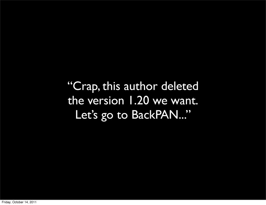 """Crap, this author deleted the version 1.20 we ..."