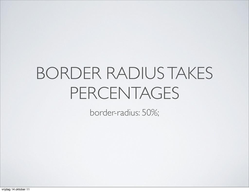 BORDER RADIUS TAKES PERCENTAGES border-radius: ...