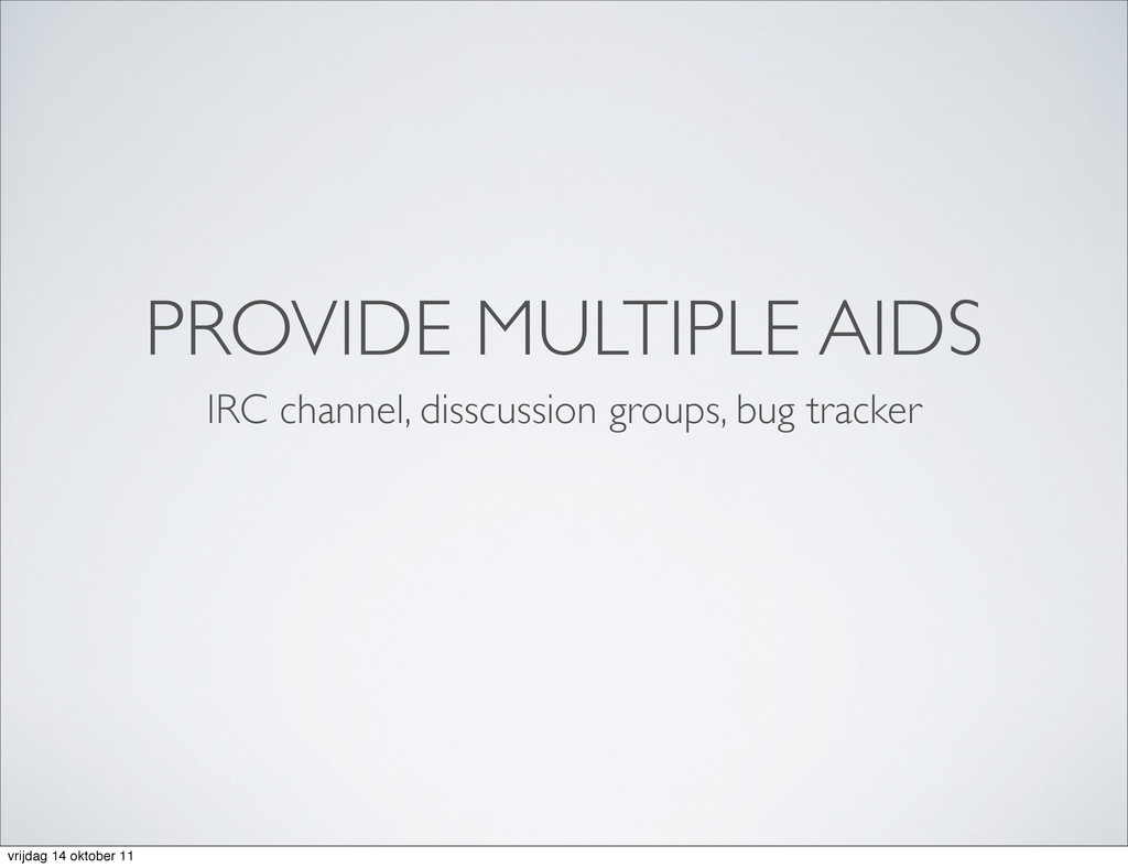 PROVIDE MULTIPLE AIDS IRC channel, disscussion ...