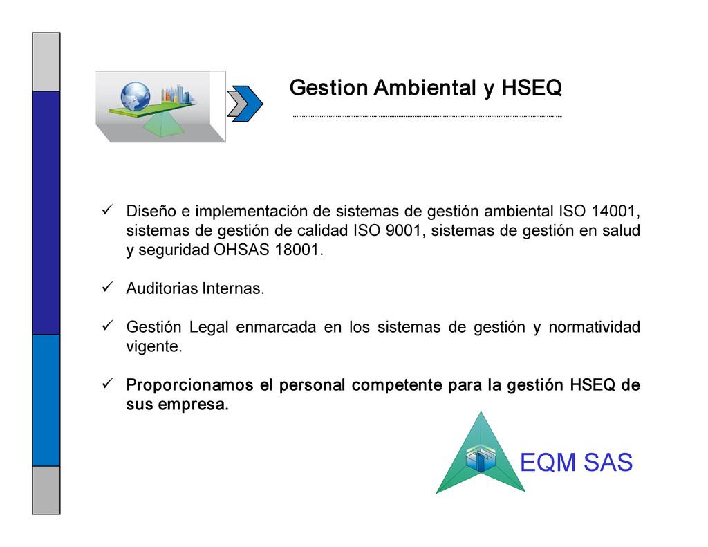 Gestion Ambiental y HSEQ ü Diseño e implementac...