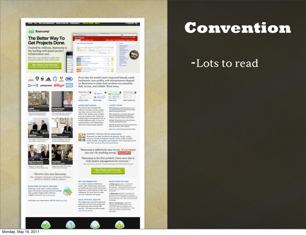 Convention -Lots to read Monday, May 16, 2011