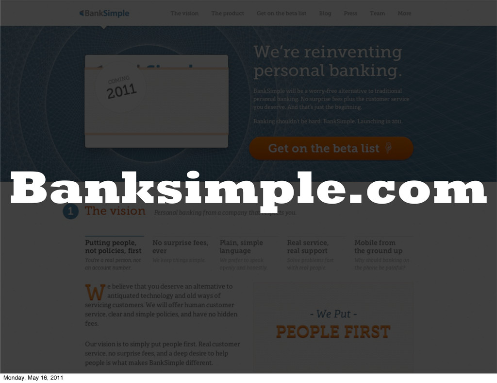 Banksimple.com Monday, May 16, 2011